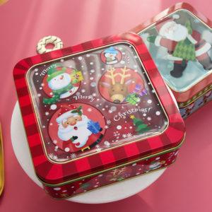 Hộp thiếc hình vuông 15x15x5.5cm Merry Christmas