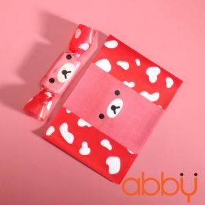 Giấy gói kẹo hình gấu đỏ 13x9cm (50 tờ)
