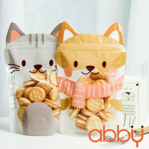 Túi zip hình mèo vàng 20x14cm (5 chiếc)