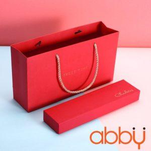 Bộ túi và hộp socola hình chữ nhật 6 viên màu đỏ