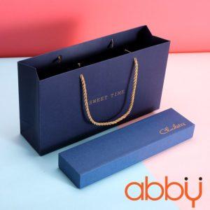 Bộ túi và hộp socola hình chữ nhật 6 viên màu xanh