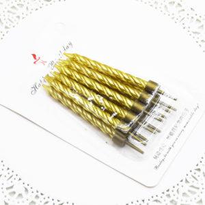 Nến sinh nhật nhũ vàng 8cm (10 chiếc)