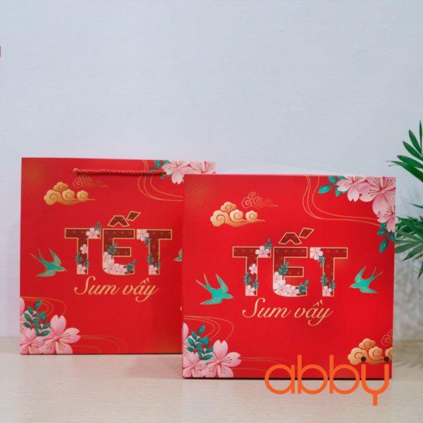 Bộ túi và hộp đựng bánh Tết Sum Vầy 6 ngăn cho 6 lọ nhựa 8,5x12cm