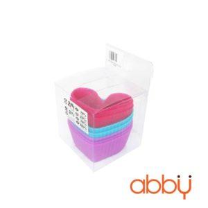 Khuôn cupcake silicon hình trái tim (8 chiếc)
