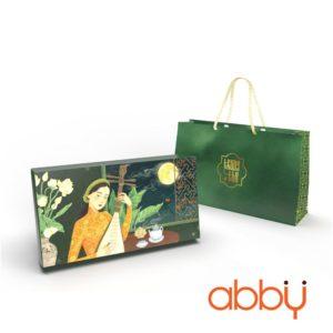 Bộ túi & hộp giấy 2 bánh trung thu 125-250g mẫu Dạ Cầm