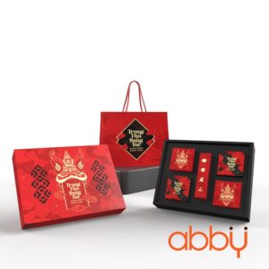 Bộ túi & hộp giấy 4 bánh trung thu 125-250g mẫu Lân Đỏ