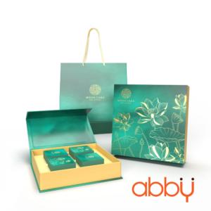 Bộ túi & hộp giấy Carton lạnh 4 bánh trung thu 100-150g mẫu Sen Ngọc