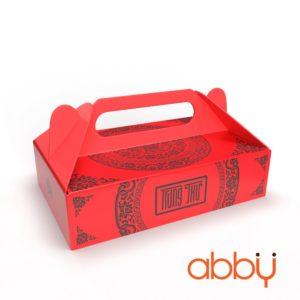 Hộp giấy đựng 6 bánh trung thu 50-75g mẫu Họa Tiết Đỏ