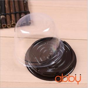 Hộp pet tròn đế đen đựng bánh Trung Thu F057 (10 chiếc)