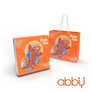 Bộ túi & hộp giấy đựng 4 bánh trung thu 125-250g cá chép cam