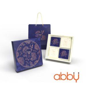 Bộ túi & hộp giấy 4 bánh trung thu 125-250g nhũ vàng mẫu hoa mẫu đơn
