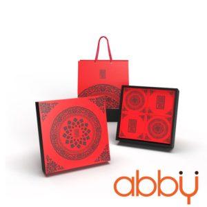 Bộ túi & hộp giấy 4 bánh trung thu 125-250g mẫu Họa Tiết Đỏ 2021