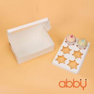 Hộp cupcake trắng 6 ô
