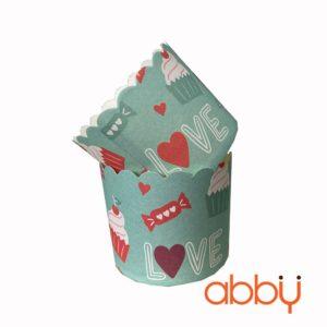 Cup giấy cứng 6x5cm mẫu cupcake love (48-50 chiếc)